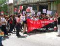 Setanta mestres del Vallès Occidental tallen la Granvia de Sabadell en contra de la LEC