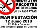 12 junio, Cáceres: CGT apoyará la concentración contra los recortes convocada por CNT