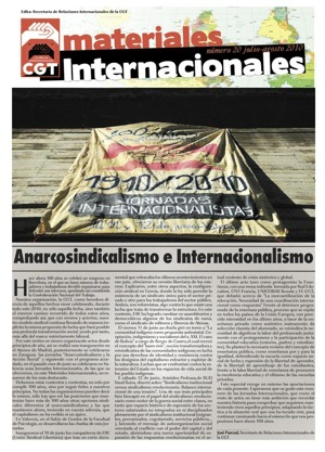 Materiales Internacionales 20 – Anarcosindicalismo e Internacionalismo