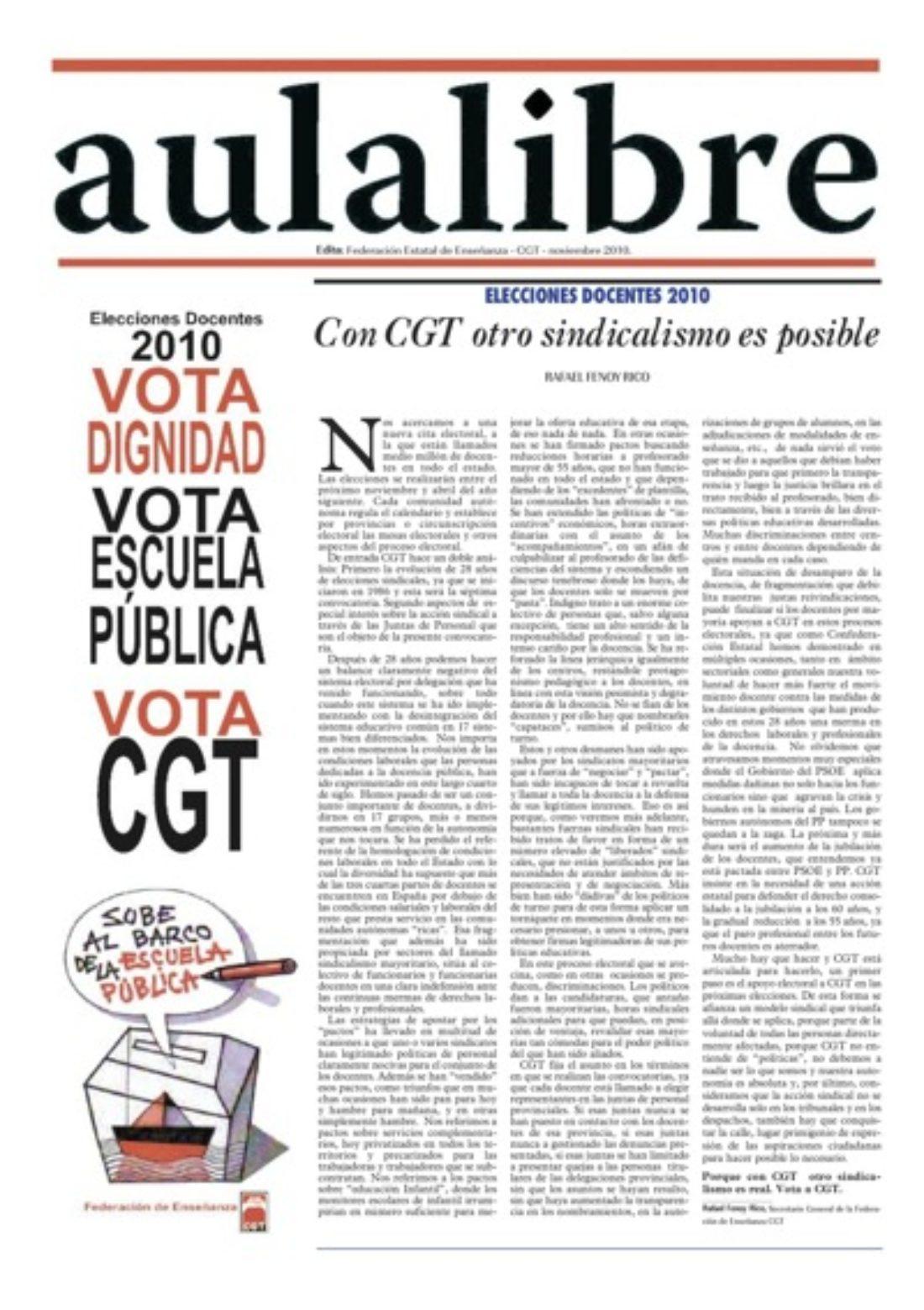 Aula Libre– noviembre 2010: Elecciones Docentes 2010
