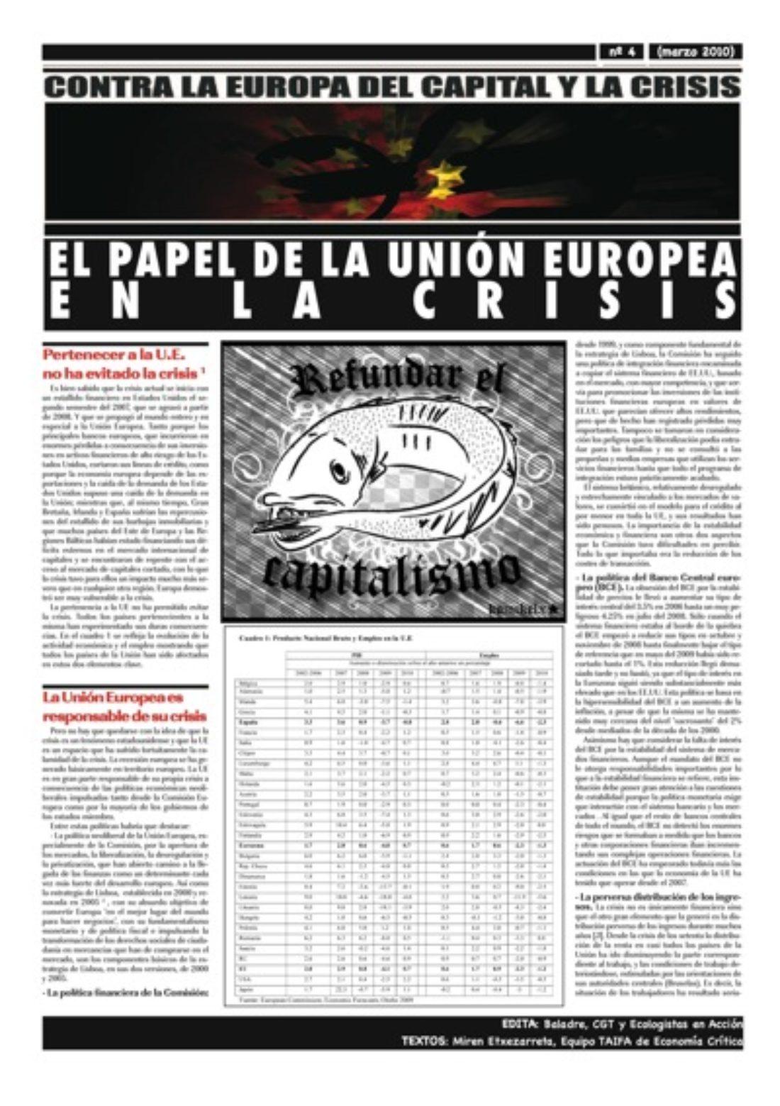 Contra la Europa del Capital IV: El papel de la Unión Europea en la crisis