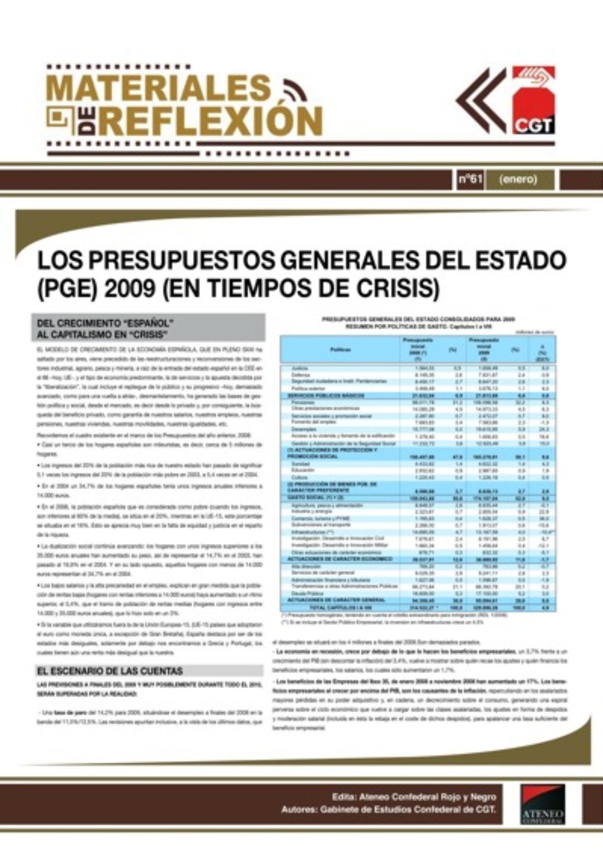 Materiales de Reflexión 61: Los PGE 2009 (en tiempos de crisis)
