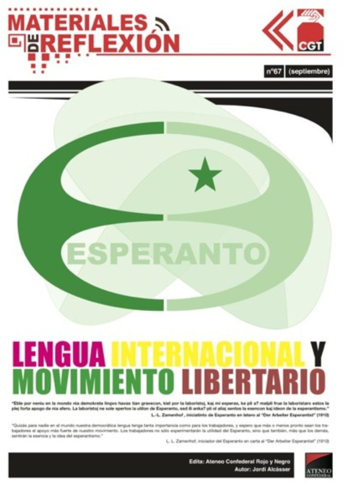Materiales de Reflexión 67: Esperanto, Lengua Internacional y Movimiento Libertario