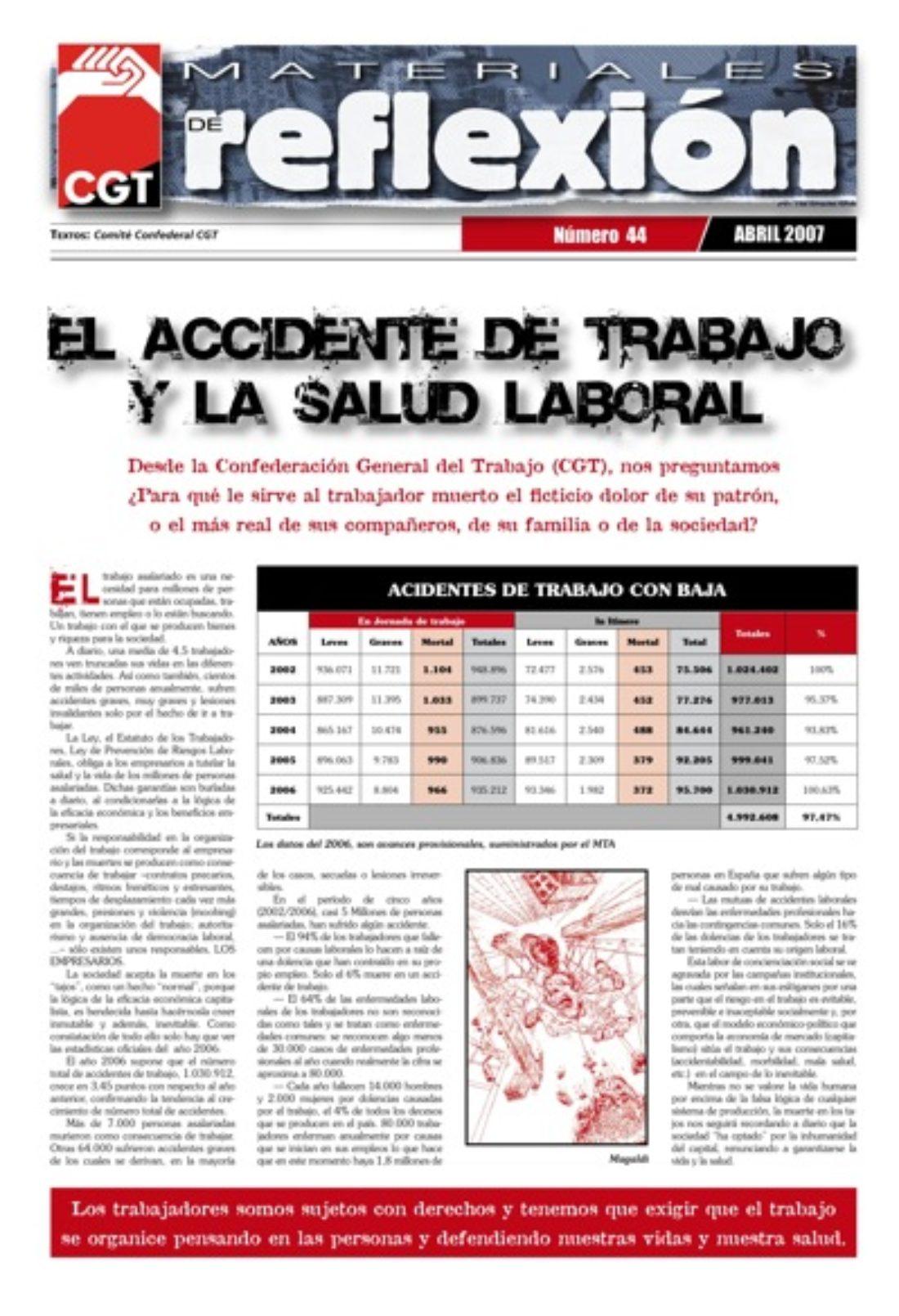 Materiales de Reflexión 44: El accidente de trabajo y la salud laboral