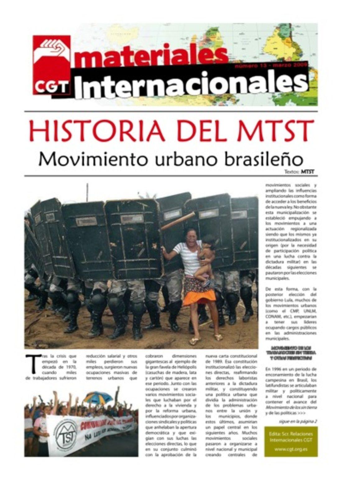 Materiales Internacionales 13: Historia del MTST de Brasil
