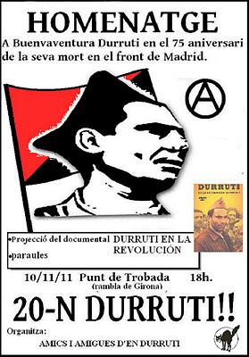 Girona: Acto de homenage a Buenaventura Durruti
