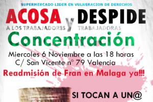 Concentración en Valencia contra la política antisindical de Mercadona