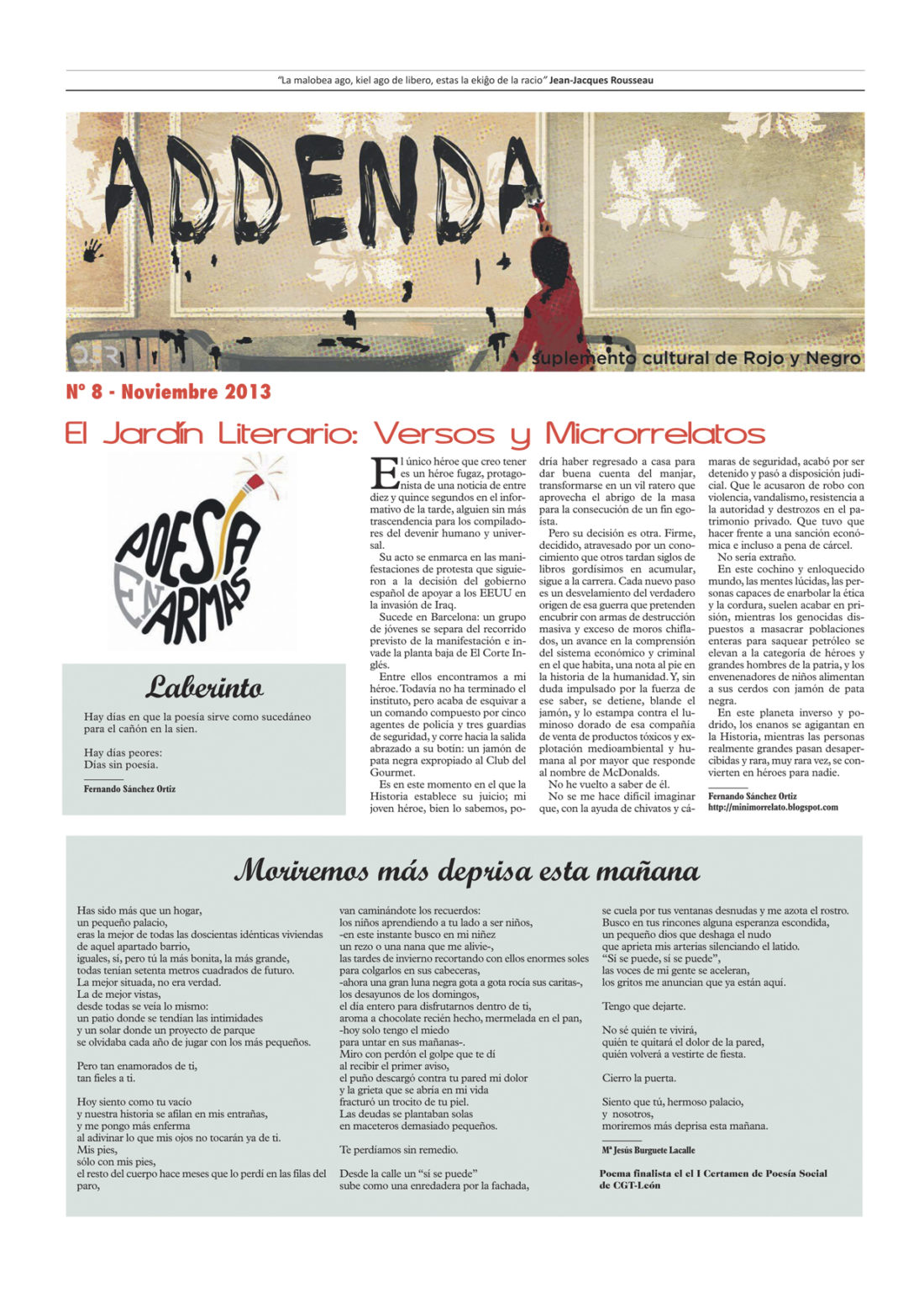Addenda, suplemento cultural del RyN – Nº 8, noviembre 2013