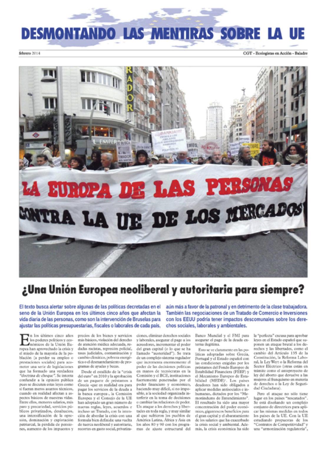 Separata «Desmontando las mentiras sobre la UE» – febrero 2014