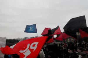 Manifestación contra la guerra en San Petersburgo