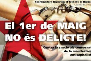 [Vídeo] Manifiesto ante la sanción por la manifestación del 1 de Mayo en Castelló