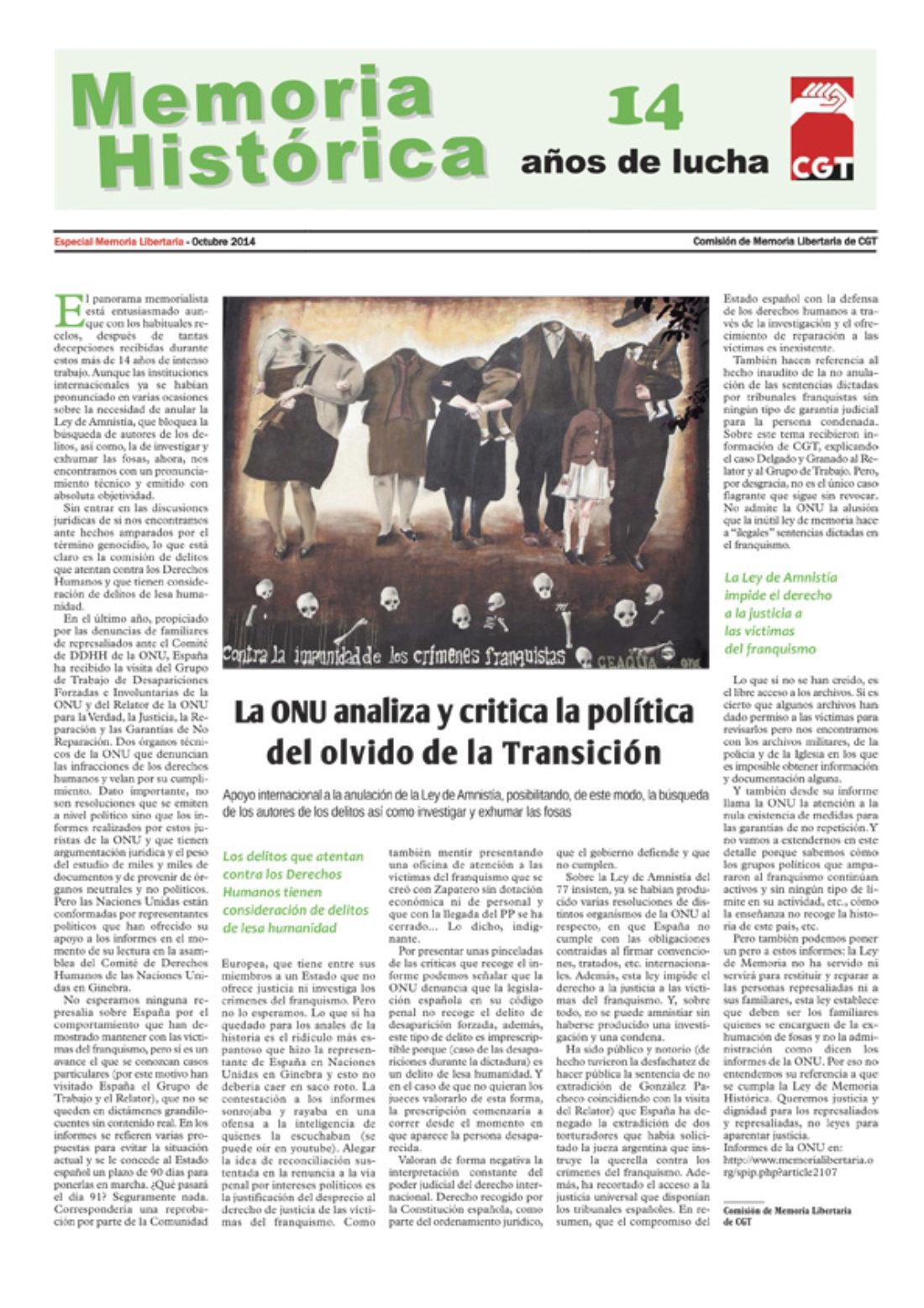 Especial «Memoria Histórica. 14 años de lucha»