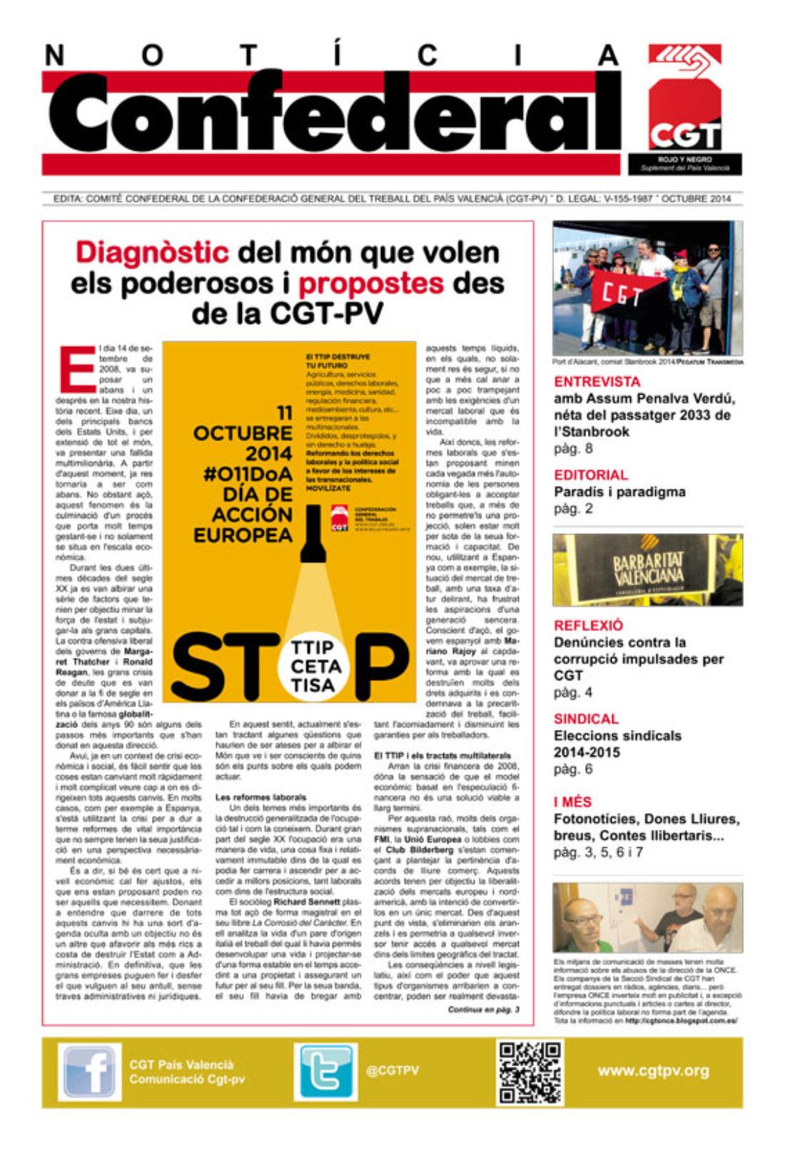 Notícia Confederal – octubre 2014