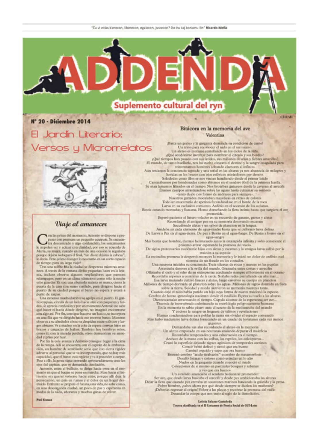 Addenda, suplemento cultural del RyN – Nº 20, diciembre 2014