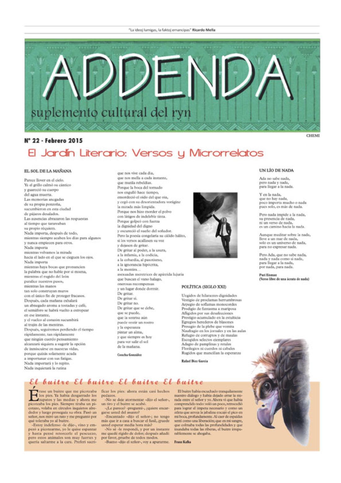 Addenda, suplemento cultural del RyN – Nº 22, febrero 2015