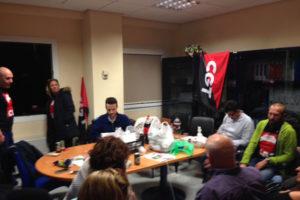 Rueda de Prensa encerrados, en asamblea permanente, representantes de CGT en EPES 061 y MKPLAN21 (Gestores de Emergencias)
