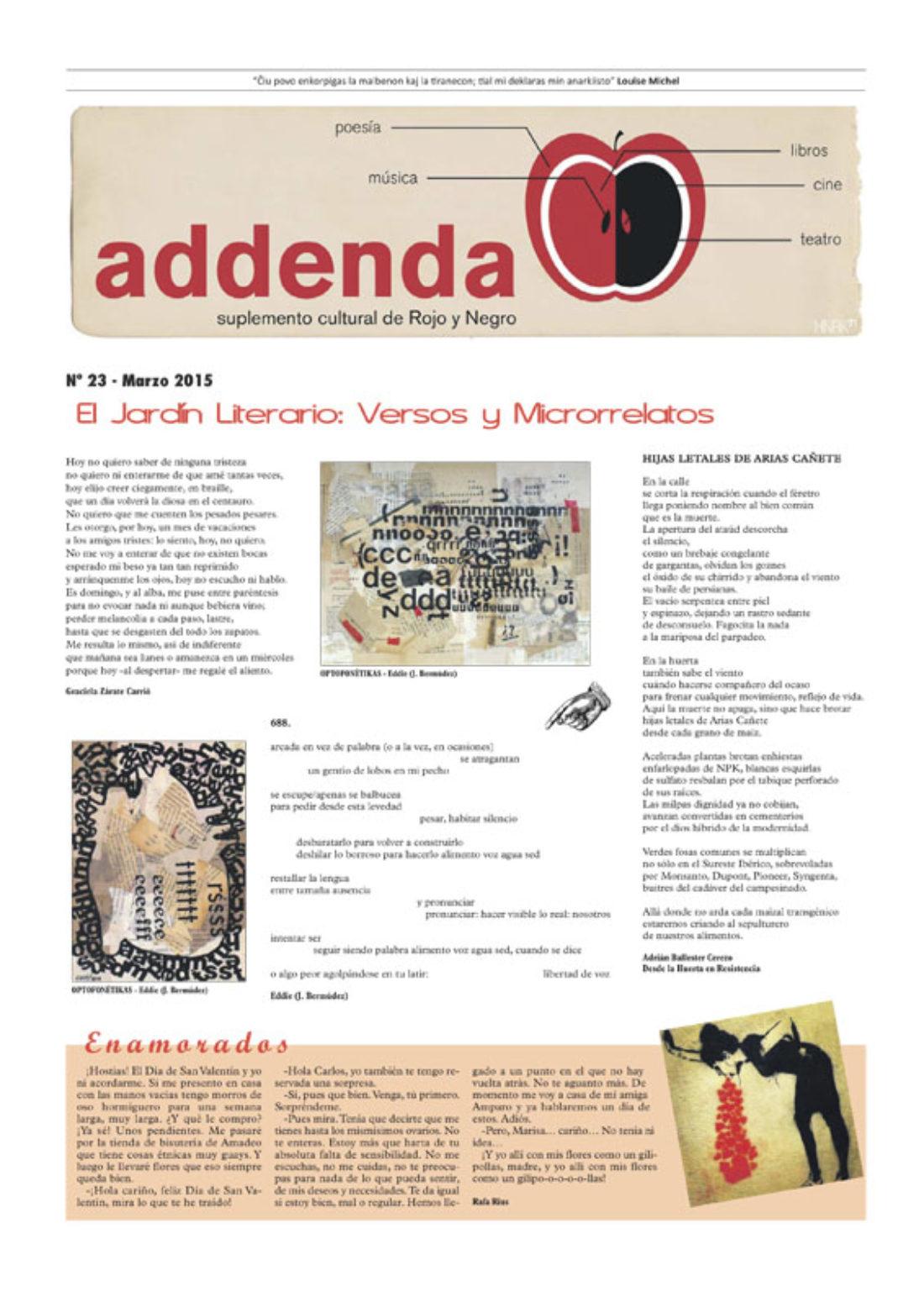 Addenda, suplemento cultural del RyN – Nº 23, marzo 2015