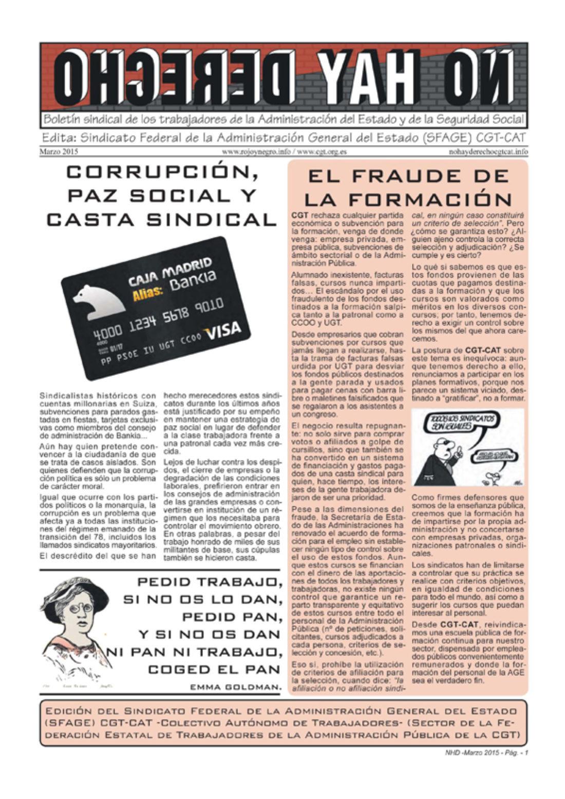 No hay derecho – Boletín sindical de los trabajadores de la Administración del Estado y la Seguridad Social