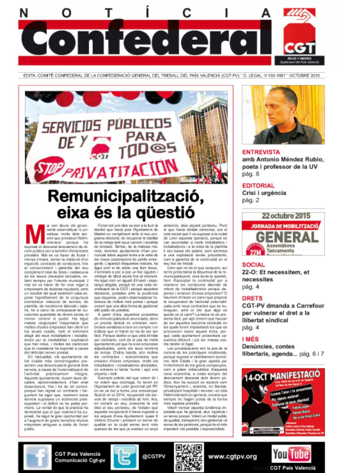 Notícia Confederal – octubre 2015