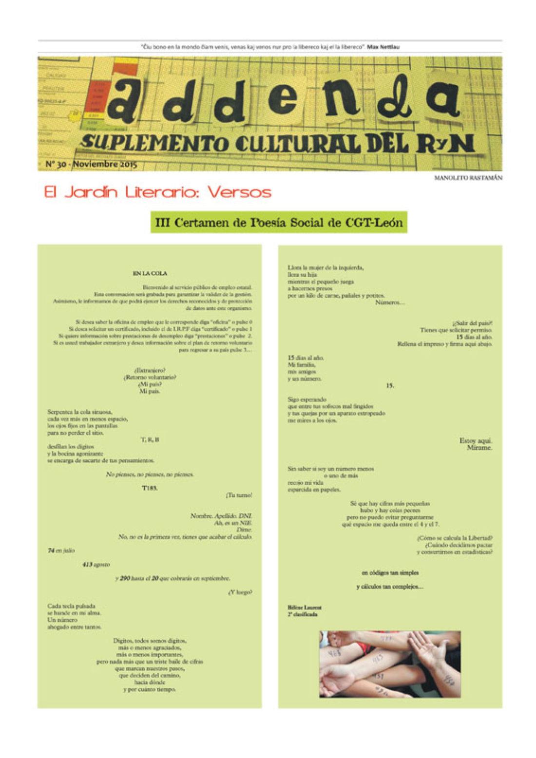 Addenda, suplemento cultural del RyN – Nº 30, noviembre 2015