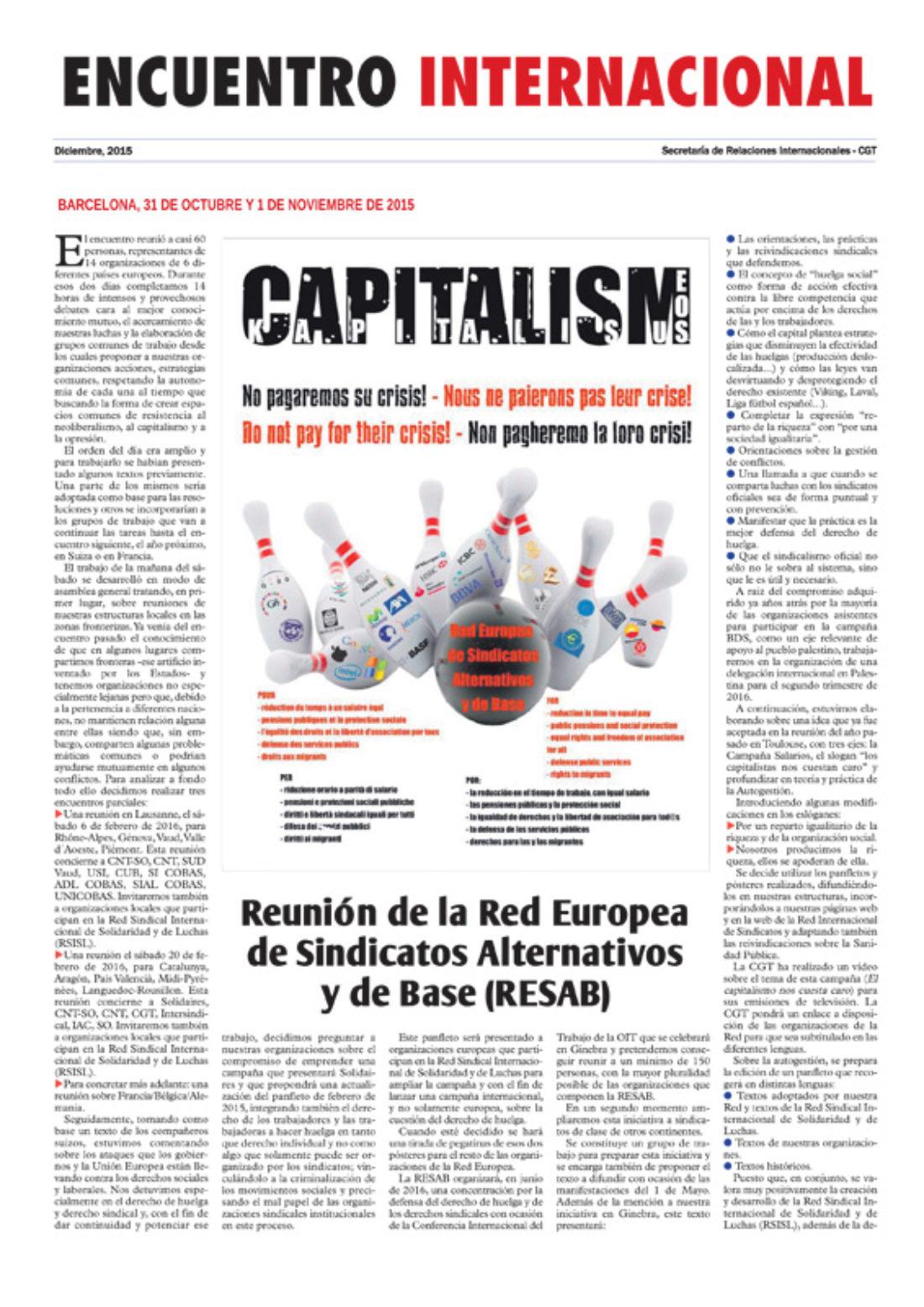 Encuentro Internacional – Suplemento del Rojo y Negro, diciembre 2015