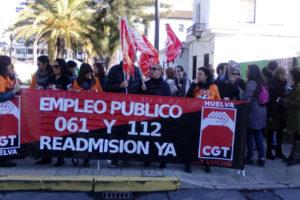 [Fotos] CGT ha organizado una concentración contra la precariedad en los Servicios de 061 y 112