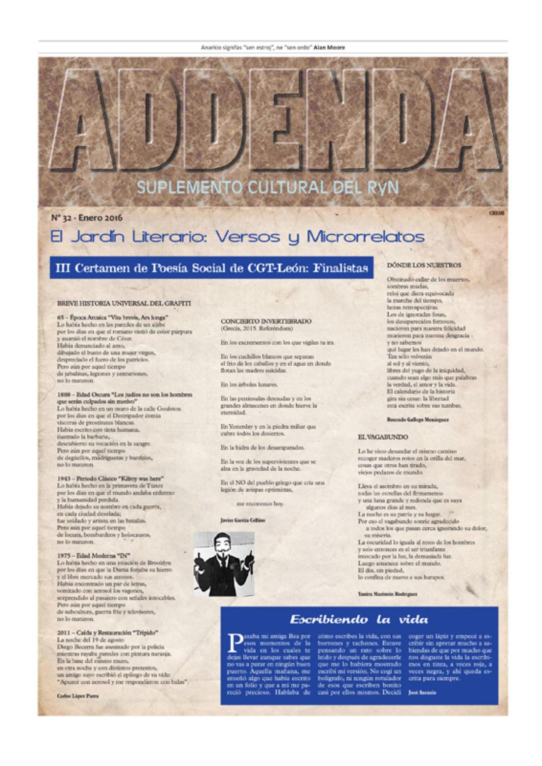 Addenda, suplemento cultural del RyN – Nº 32, enero 2016