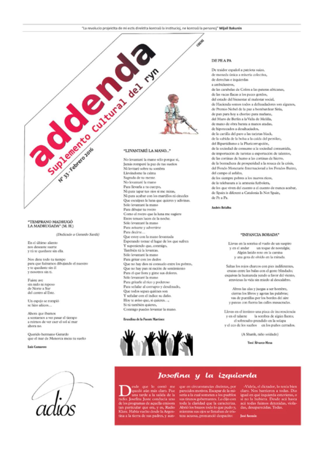Addenda, suplemento cultural del RyN – Nº 33, febrero 2016