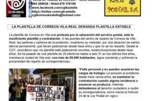 La plantilla de Correos Vila-real demanda plantilla estable