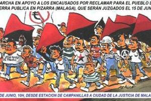 Actos en apoyo a los tres imputados por la simbólica ocupación de una parcela de tierra en Pizarra, que serán juzgados el próximo 15 de junio en Málaga