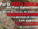20 y 27-o y 3-n València: Concentración y recogida de firmas Por la Renta Básica del País Valencià
