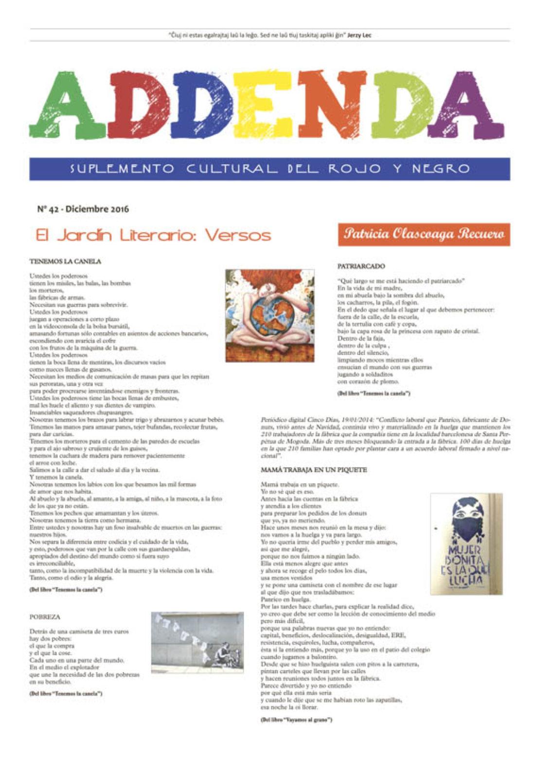 Addenda, suplemento cultural del RyN – Nº 42, diciembre 2016