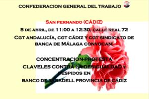 Claveles contra la desigualdad en Banco de Sabadell