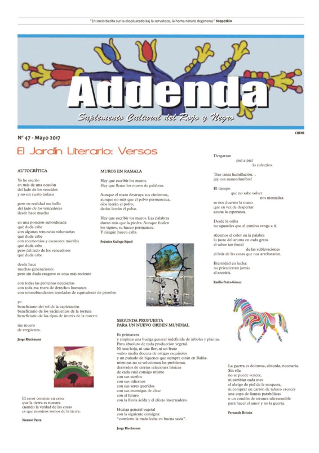 Addenda, suplemento cultural del RyN – Nº 47, mayo 2017