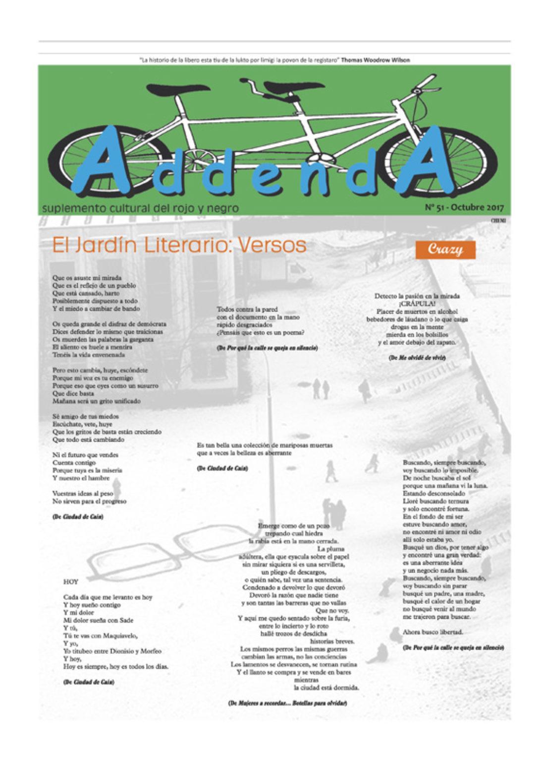 Addenda, suplemento cultural del RyN – Nº 51, octubre 2017