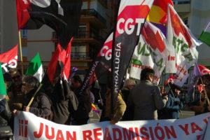 Apoyo a los trabajadores en huelga de hambre de Algesa Algeciras en la  manifestación por el empleo en la localidad de Cádiz