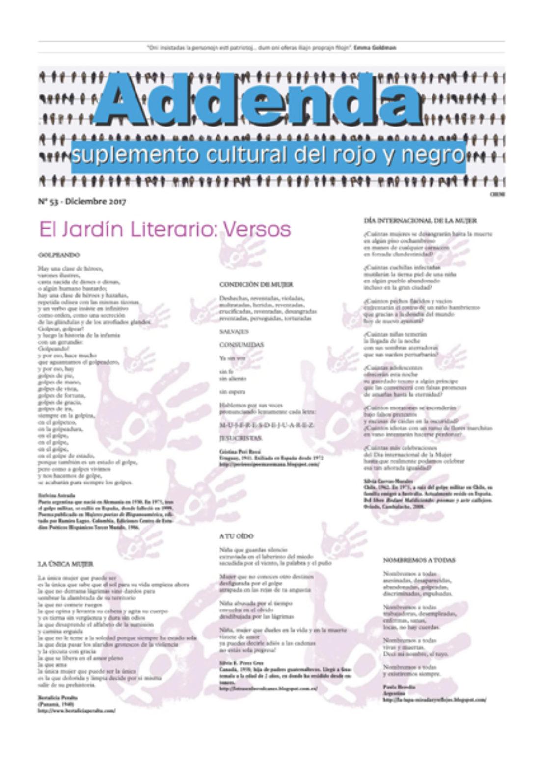 Addenda, suplemento cultural del RyN – Nº 53, diciembre 2017