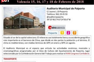Información XVIII Congreso CGT: Lugar, transporte, alojamiento, direcciones…