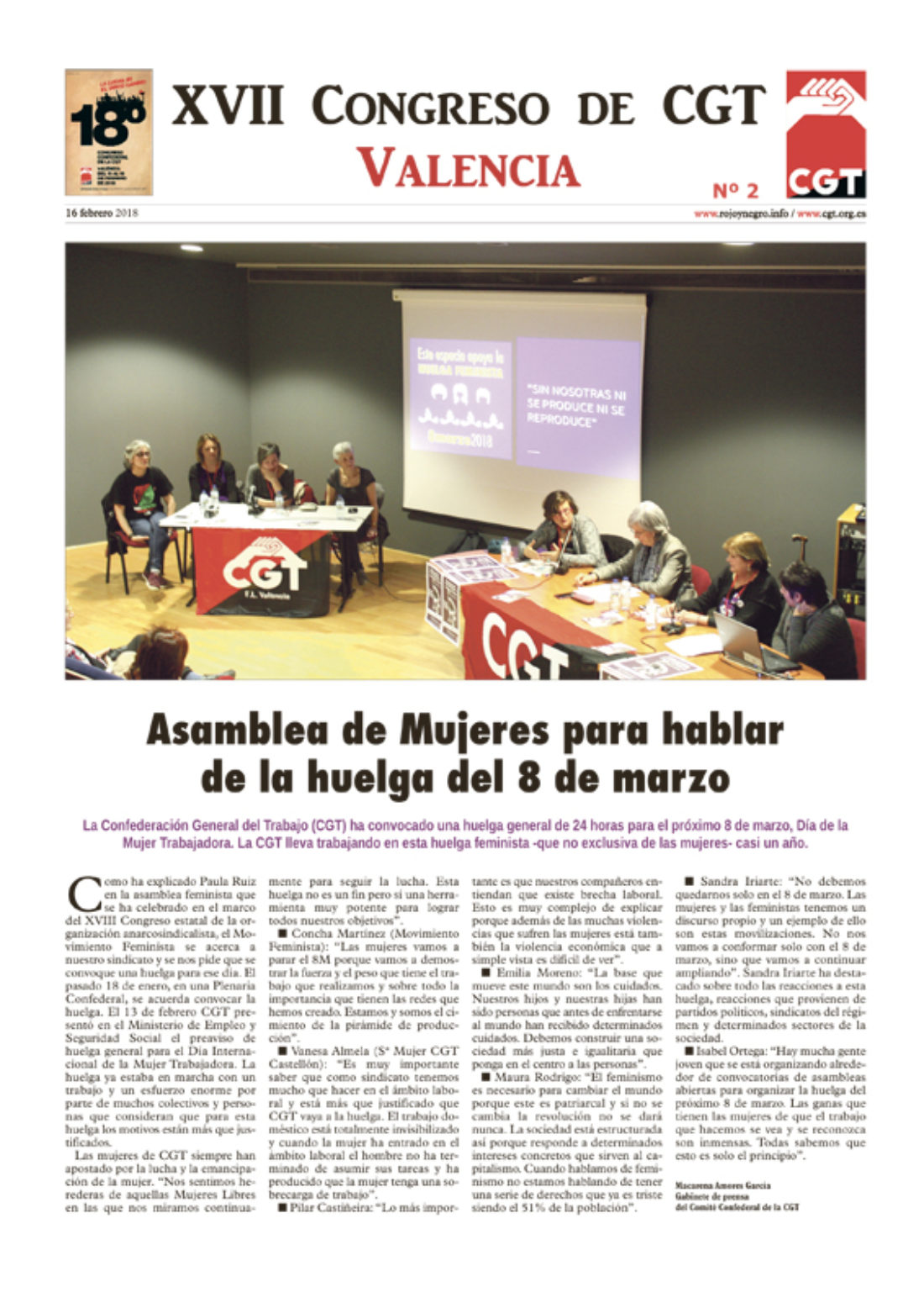 XVIII Congreso de CGT en Valencia. Diario 2