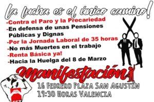 CGT se manifestará esta tarde en València para hacer visible la lucha como único camino en defensa de los derechos de la clase trabajadora