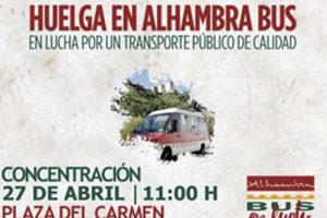 Petición de solidaridad de compañeras/os de Alhambra Bus en huelga