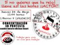 24-m València: Concentración ante el Banco Santander en protesta por el cambio de horario oficinas Smart