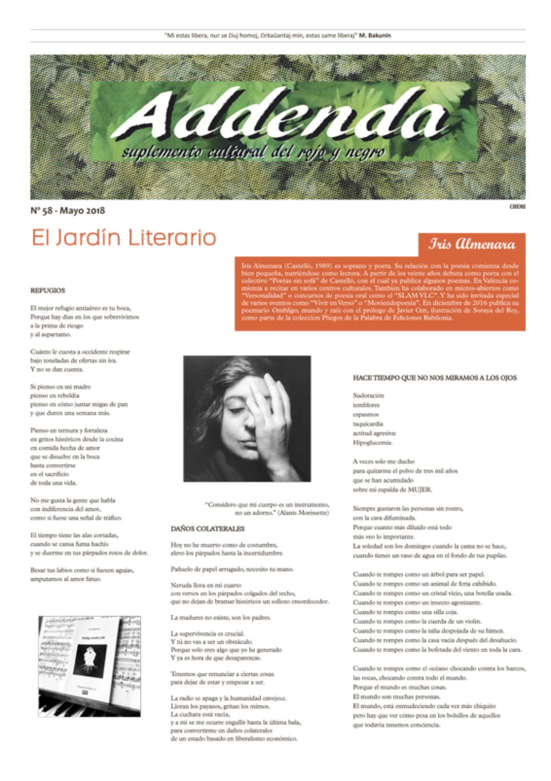Addenda, suplemento cultural del RyN – Nº 58, mayo 2018