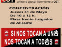 31-m Alacant: Concentración frente a los juzgados por la readmisión de Ademar Pablo, represaliado por ser delegado sindical de CGT en Ubesa (Alsa)
