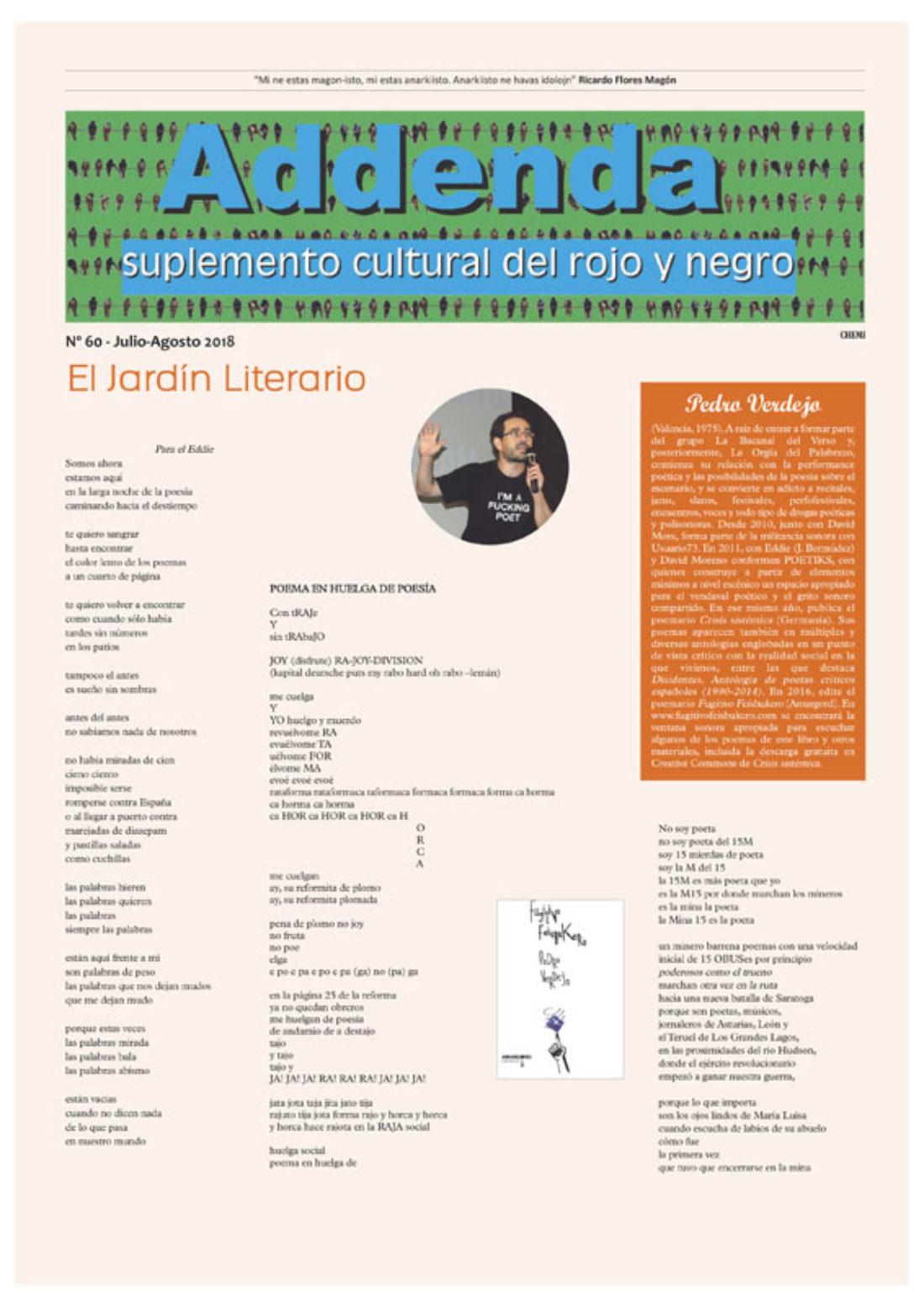 Addenda, suplemento cultural del RyN – Nº 60, julio-agosto 2018