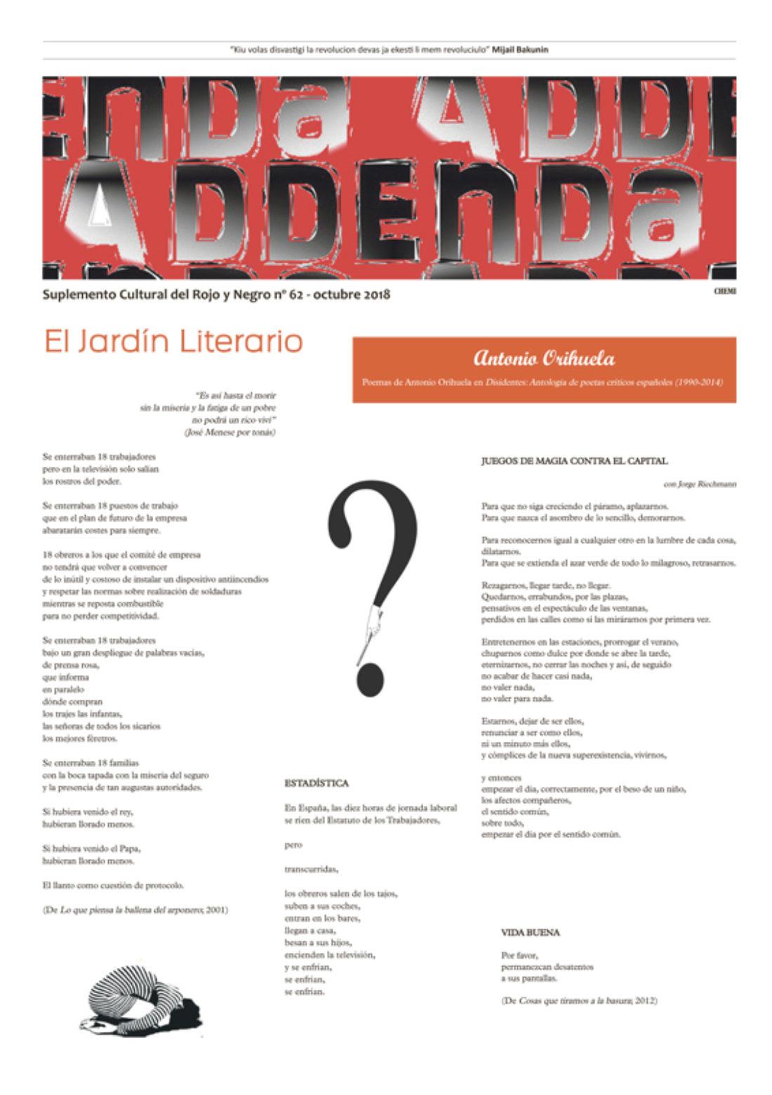Addenda, suplemento cultural del RyN – Nº 62, octubre 2018