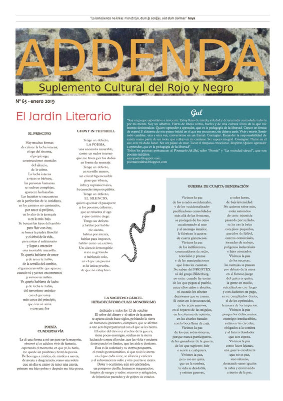 Addenda, suplemento cultural del RyN – Nº 65, enero 2019