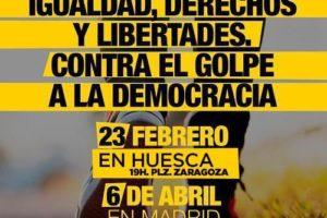 23-F Huesca: Concentración por la Igualdad, derechos y libertades. Por el golpe a la democracia