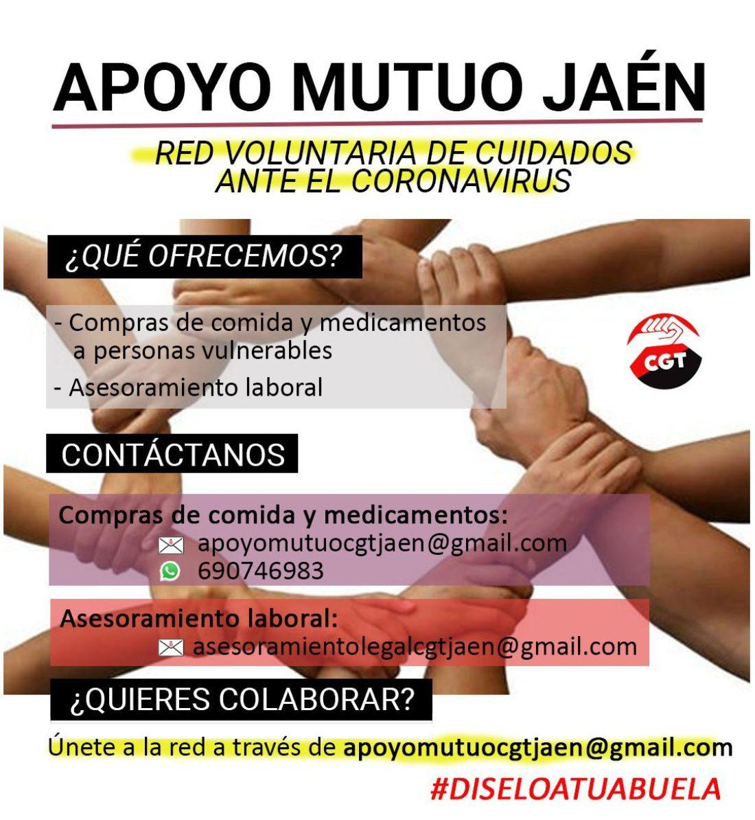 """CGT Jaén lanza la red voluntaria de cuidados ante la crisis causada por el coronavirus, """"Apoyo Mutuo Jaén"""""""
