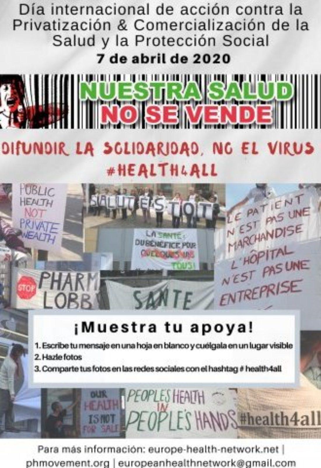 Invertir en salud para todos y todas «Difundir la solidaridad, no el virus»